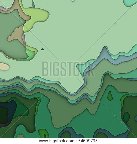 art colorful transperancy waves pattern background in green colors