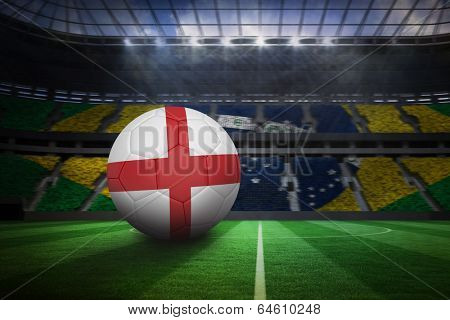 Football in england colours in large football stadium with brasilian fans