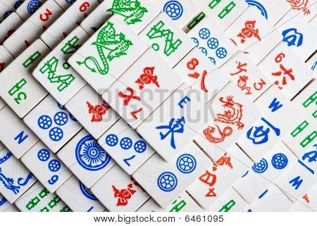 mah Jong tiles in a stack