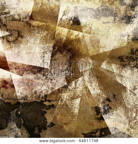 art abstract watercolor background with fabric texture and squares in beige, brown and black colors; geometric pattern
