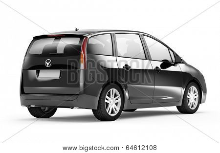Back view studio shot of three-dimensional black sedan 3D family car.