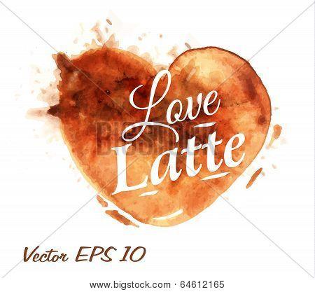 Heart drawn pour coffee latte