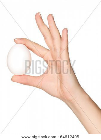 Woman hand with egg isolated on white background