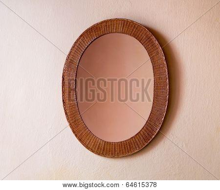 Mirror In Wicker Frame