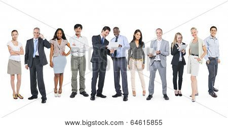 Multi-Ethnic Business People Working in a Row