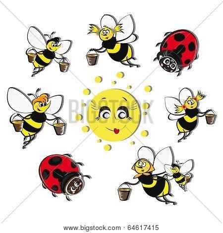 Bees, ladybirds around the sun.