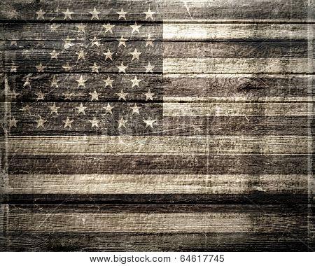 American Flag On Wooden Vintage Background