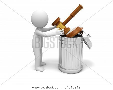 3d person with dustbin and gavel