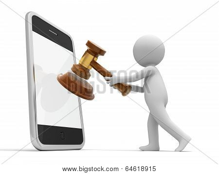 3d person put gavel into mobile