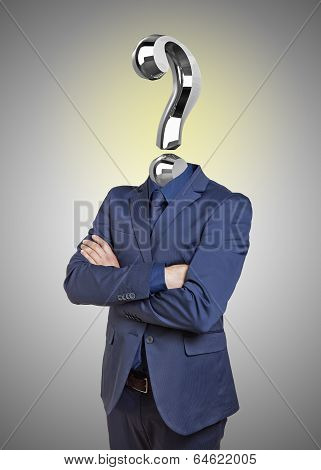 Businessman With Question Mark Instead Of Head