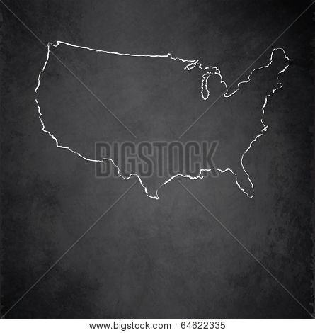 USA map blackboard chalkboard raster