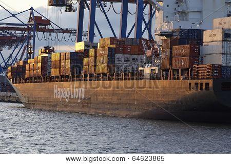 Hamburg - Container Vessels At Terminal Burchardkai