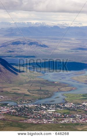 Aerial Of Small Town In Iceland