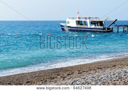 The Motor Yacht For Diving Is Near Pier, Antalya, Turkey