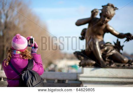 Tourist Girl In Paris, Taking Picture On The Pont Alexandre Iii