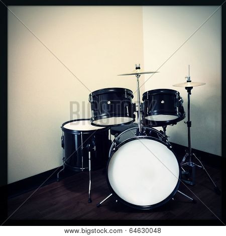 Instagram style image of a drum kit