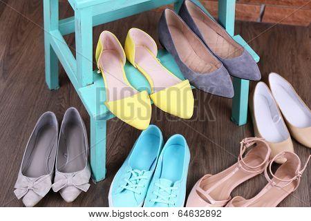 Shoe shelf with women shoes