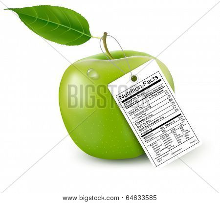 An apple with a nutrition facts label. Vector.