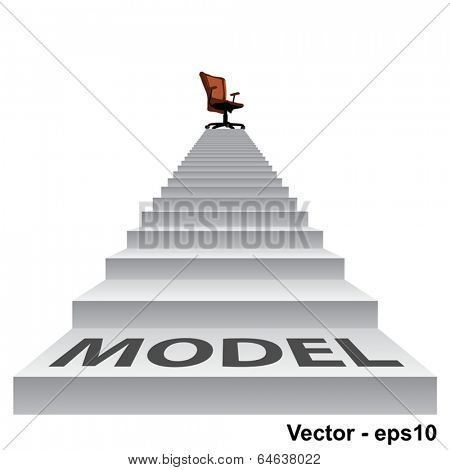 Vector concept conceptual 3d model stair climbing to a leader,chief or promotion chair on top isolated white background