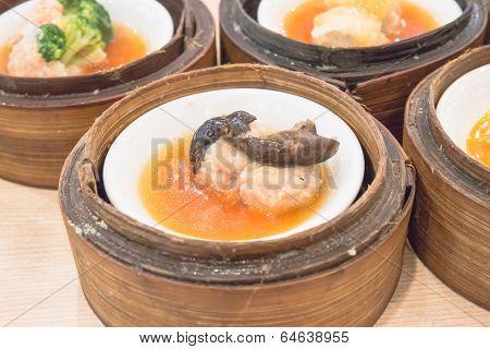 Dim Sum In Bamboo Steamer, Chinese Cuisine