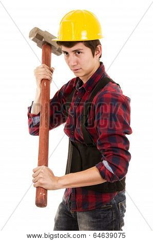 man with a sledgehammer and a hard hat