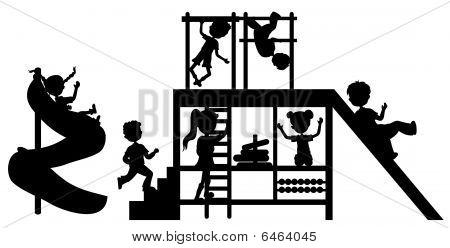 Silhouettes Children At Playground