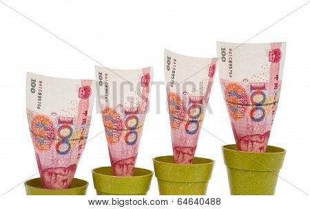 Rmb Rising On White Background With Clipping Path