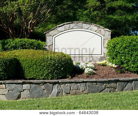 Blank sign of the subdivision entrance