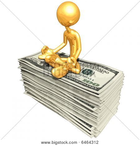 Gold Guy In Meditation Atop Money