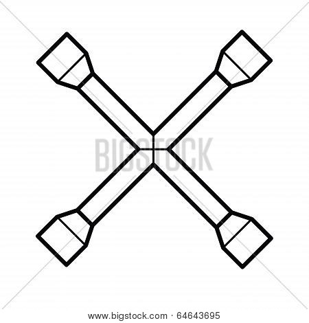 Wheel wrench outline vector