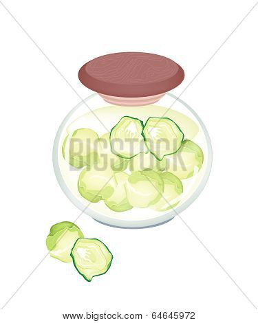 A Jar Of Delicious Pickled Brussels Sprouts