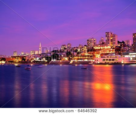 Harbour at dusk, San Francisco.