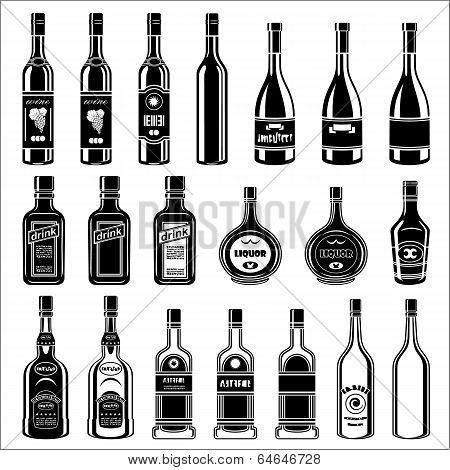 Set Of Alcohol Bottles.