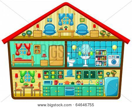 Cartoon House In A Cut