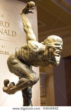Exhibition Of Statues Cirque Du Soleil Artists At The Bellagio Hotel In Las Vegas.