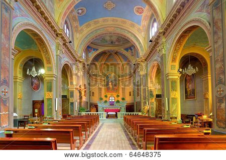 SERRALUNGA D'ALBA, ITALY - MARCH 31, 2012: Inside view of San Sebastiano church - catholic parish church built between 1886 and 1888 with interior decorations painted by painter Alba Fedele Finati.