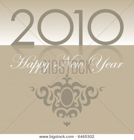 2010 Happy New Year text with ornament brown