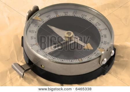 Close Up View Oft The Old Compass