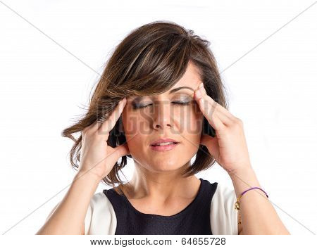 Woman With Headache Over Isolated White Background