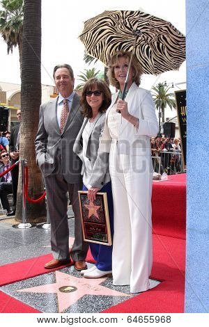 LOS ANGELES - MAY 5:  Beau Bridges, Sally Field, Jane Fonda at the Sally Field Hollywood Walk of Fame Star Ceremony at Hollywood Wax Museum on May 5, 2014 in Los Angeles, CA