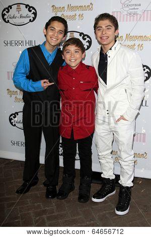 LOS ANGELES - APR 27:  Robert Ochoa, Raymond Ochoa, Ryan Ochoa at the Ryan Newman's Glitz and Glam Sweet 16 birthday party at Emerson Theater on April 27, 2014 in Los Angeles, CA