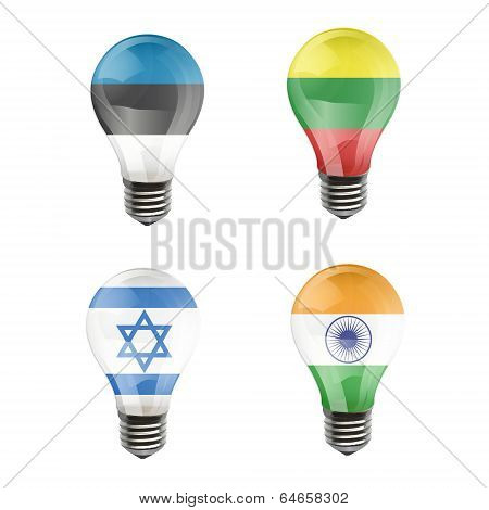 Realistic Bulb Of Israel, India, Estonia, Lithuania