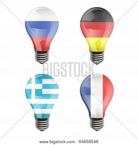Realistic Bulb Of Germany, France, Grece, Rusia