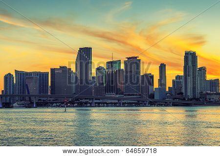 City Of Miami Florida At Sunset