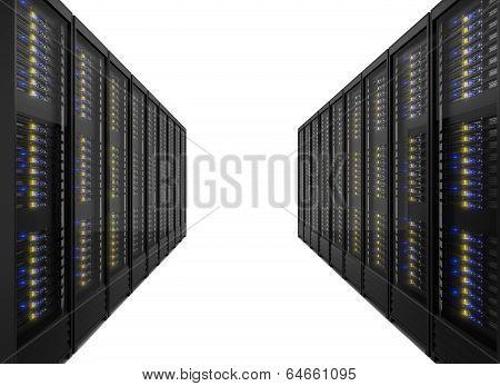 Two Lines Of Server Racks