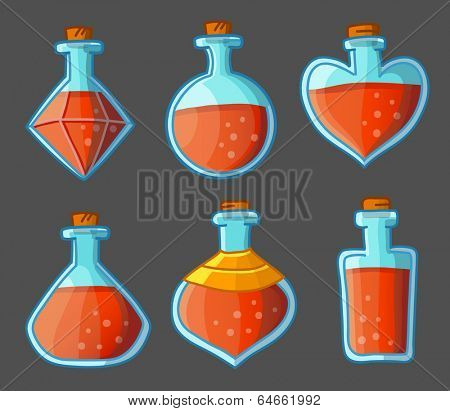 Collection of red magical bottles. Vector illustration. Isolated on dark