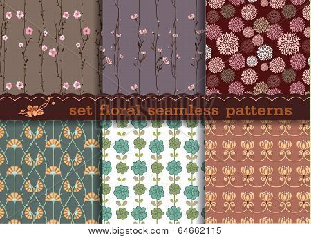Set Floral Seamless Pattern Seamless Pattern Can Be Used For Wallpaper, Pattern Fills, Web page