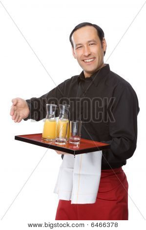 Waiter Pouring Juice