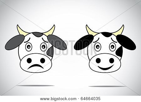 Happy And Sad Faced Cow Illustration Cartoon Concept Set.