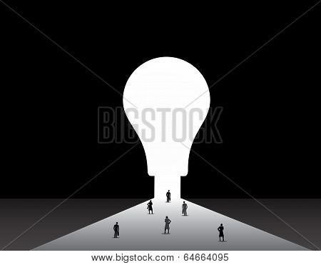 Nicely Dressed Silhouette Business Men And Women Standing Front Of Big Idea Lightbulb Door
